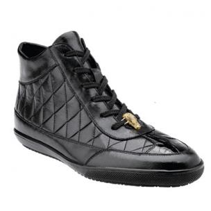 Belvedere Alessio Quilted Calfskin & Crocodile High Top Sneakers Black Image
