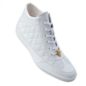 Belvedere Alessio Quilted Calfskin & Crocodile High Top Sneakers White Image