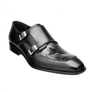 Belvedere Alvaro Alligator & Calfskin Double Monk Strap Shoes Black Image