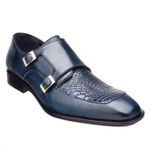 Belvedere Alvaro Alligator & Calfskin Double Monk Strap Shoes Blue Safari Image