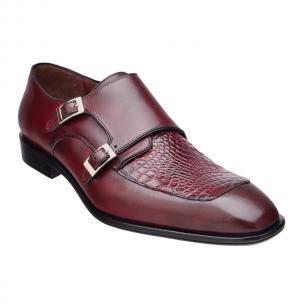 Belvedere Alvaro Alligator & Calfskin Double Monk Strap Shoes Port Merlot Image
