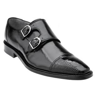 Belvedere Amico Calfskin & Ostrich Double Monk Strap Shoes Black Image