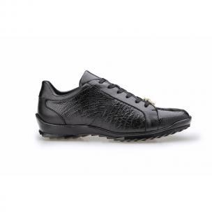 Belvedere Arena Ostrich & Calfskin Sneakers Black Image