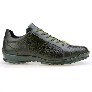 Belvedere Arena Ostrich & Calfskin Sneakers Olive Image