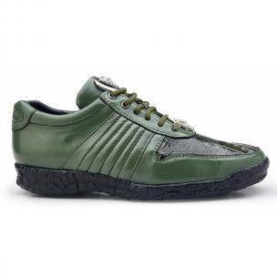 Belvedere Astor Calfskin & Crocodile Sneakers Olive Image