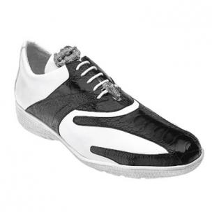 Belvedere Bene Ostrich & Calfskin Sneakers Black / White Image
