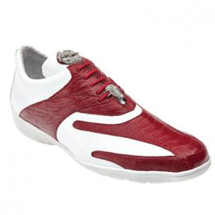 Belvedere Bene Ostrich & Calfskin Sneakers Red / White Image