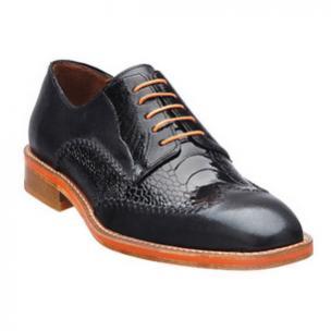 Belvedere Borgo Ostrich & Calfskin Wingtip Shoes Black Image