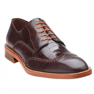 Belvedere Borgo Ostrich & Calfskin Wingtip Shoes Brown Image