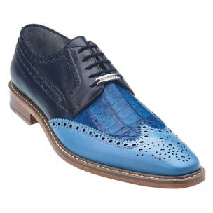 Belvedere Ciro Crocodile & Calfskin Wingtip Shoes Light Blue / Ocean / Navy Image