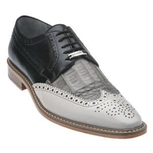 Belvedere Ciro Crocodile & Calfskin Wingtip Shoes Light Gray / Gray / Black Image