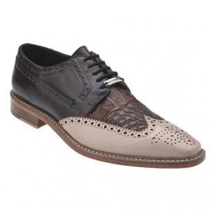 Belvedere Ciro Crocodile & Calfskin Wingtip Shoes Taupe / Tabac / Dark Brown Image