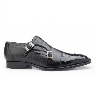 Belvedere Cotto Ostrich Double Monk Strap Shoes Black Image