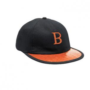 Belvedere Crocodile & Calfskin Baseball Cap Black / Orange Image