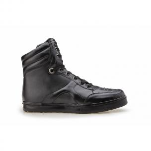 Belvedere Damian Ostrich & Calfskin High Top Sneakers Black Image
