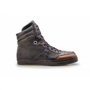 Belvedere Damian Ostrich & Calfskin High Top Sneakers Chocolate Image