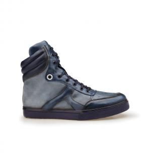 Belvedere Damian Ostrich & Calfskin High Top Sneakers Navy Blue Image