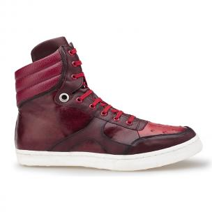 Belvedere Damian Ostrich & Calfskin High Top Sneakers Red Image