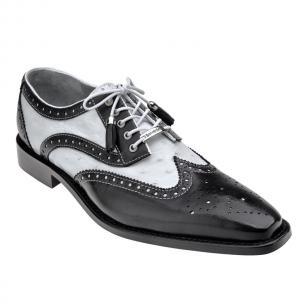 Belvedere Danilo Ostrich & Calfskin Wingtip Brogues Black/White Image