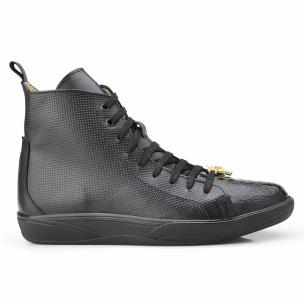 Belvedere Elio Calfskin & Ostrich High Top Sneakers Black Image