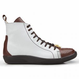 Belvedere Elio Calfskin & Ostrich High Top Sneakers Cognac / White Image