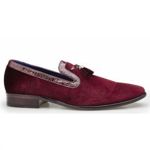 Belvedere Ernesto Velvet & Crocodile Tassel Loafers Scarlet Red Image