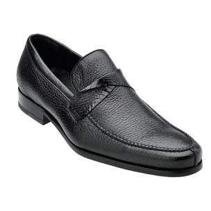 Belvedere Evaldo Deerskin & Alligator Loafers Black Image