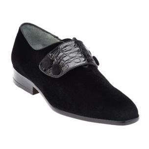 Belvedere Fede Velvet & Crocodile Strap Loafers Black Image