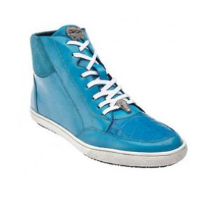 Belvedere Franco Crocodile & Soft Calfskin High Top Sneakers Baby Blue Image