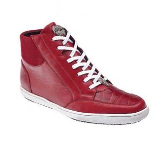 Belvedere Franco Crocodile & Soft Calfskin High Top Sneakers Red Image