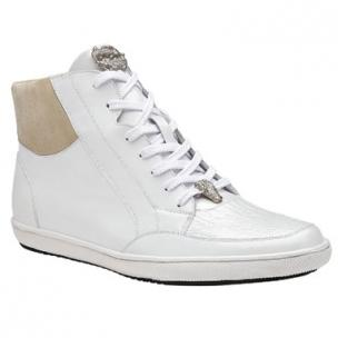 Belvedere Franco Crocodile & Soft Calfskin High Top Sneakers White Image
