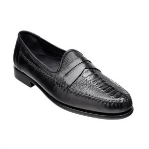 Belvedere Giotto Ostrich Leg & Calfskin Penny Loafers Black Image