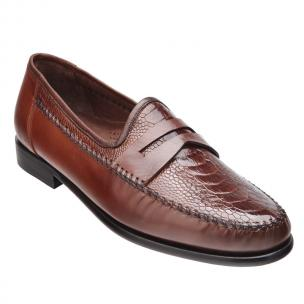 Belvedere Giotto Ostrich Leg & Calfskin Penny Loafers Cognac Image