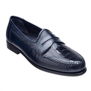 Belvedere Giotto Ostrich Leg & Calfskin Penny Loafers Navy Image