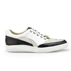 Belvedere Irvin Ostrich & Calfskin Sneakers Black / Pearl / White Image