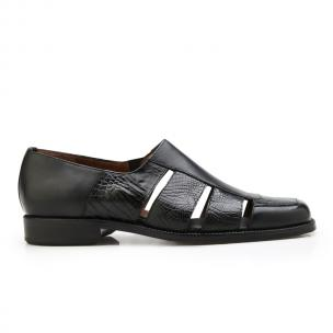 Belvedere Land Alligator & Calfskin Sandals Black Image