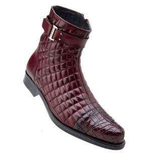 Belvedere Libero Quilted Leather & Alligator Cap Toe Boots Antique Wine Image