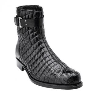Belvedere Libero Quilted Leather & Alligator Cap Toe Boots Black Image