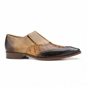 Belvedere Lucas Crocodile & Calfskin Wingtip Shoes Brown / Camel / Tabac Image