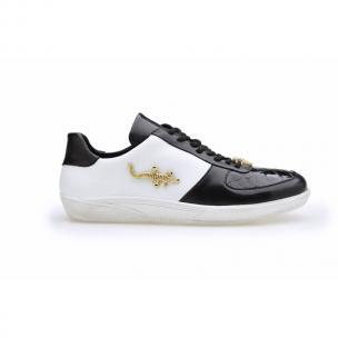 Belvedere Mario Crocodile & Calfskin Sneakers Black / White Image