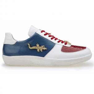 Belvedere Mario Crocodile & Calfskin Sneakers Red / White / Navy Image