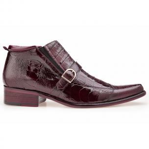 Belvedere Matteo Ostrich & Crocodile Boots Antique Dark Burgundy Image