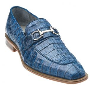 Belvedere Mercuri Crocodile Bit Loafers Blue Jean Image