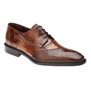 Belvedere Nino Eel & Ostrich Shoes Antique Camel Image