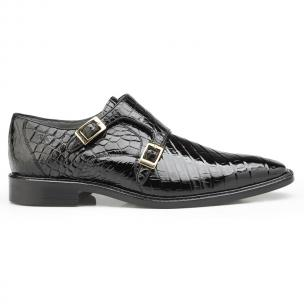 Belvedere Oscar Alligator Double Monk Strap Shoes Black Image