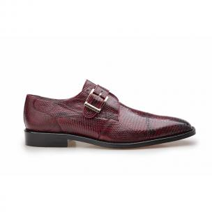 Belvedere Otto Lizard Monk Strap Shoes Antique Dark Burgundy Image