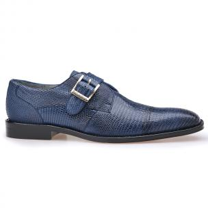 Belvedere Otto Lizard Monk Strap Shoes Antique Navy Image