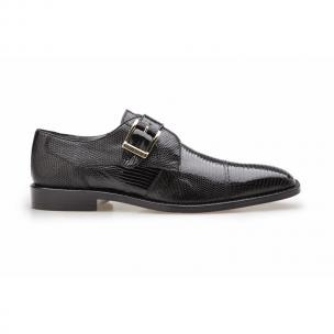 Belvedere Otto Lizard Monk Strap Shoes Black Image