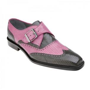 Belvedere Pasta Lizard Wingtip Monk Strap Shoes Pink / Gray Image