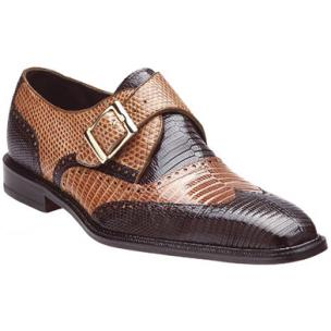 Belvedere Pasta Lizard Wingtip Monk Strap Shoes Brown / Camel Image